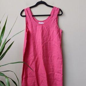 FLAX Pink Linen Scoop Neck Sleeveless Dress size M